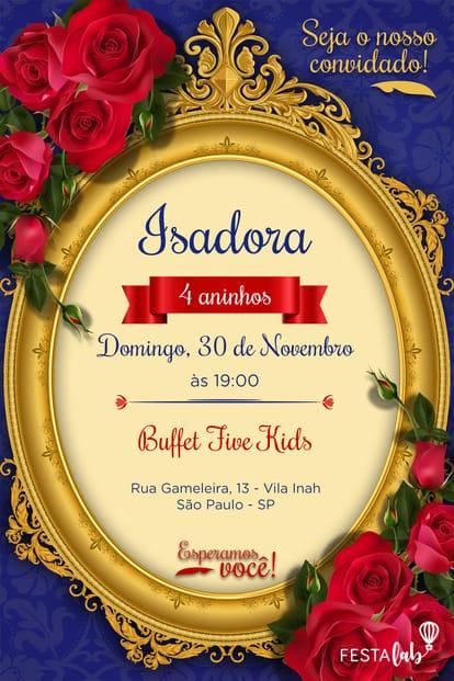 Convite de aniversario - A Bela e a Fera