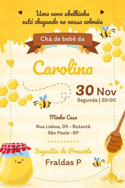 Convite de Cha de Bebe - Abelhinha
