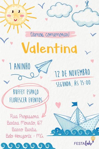 Convite de Aniversario - Aquarela Baby