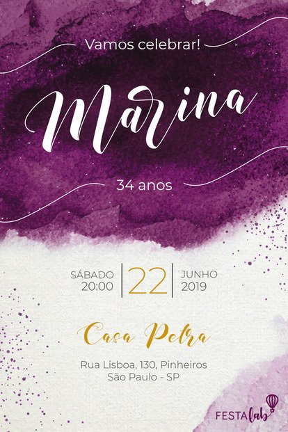Convite de Aniversario - Aquarela