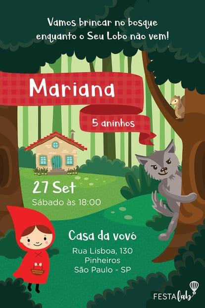 Convite de Aniversario - Chapeuzinho Vermelho