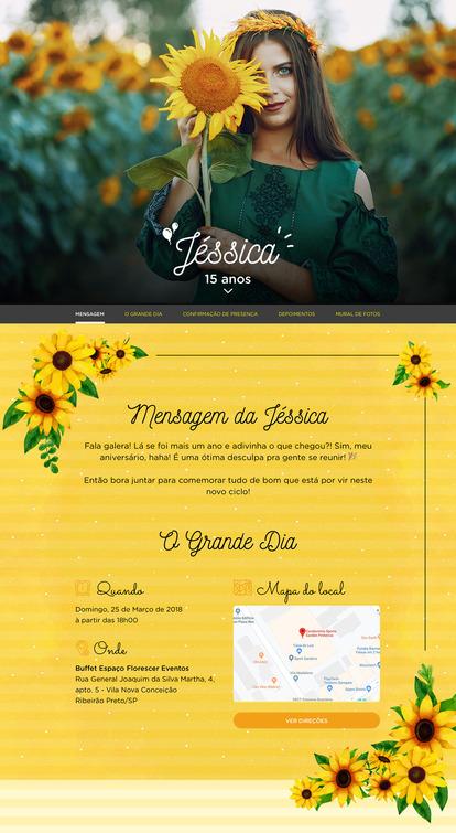 Convite Girassol para Editar