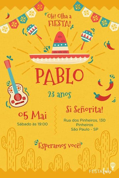 Convite de Aniversario - Mexicano