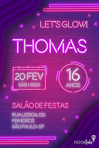 Convite de Aniversario - Neon
