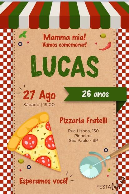 Convite de Aniversario - Pizza