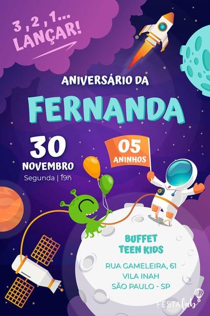 Convite de aniversario - Astronauta
