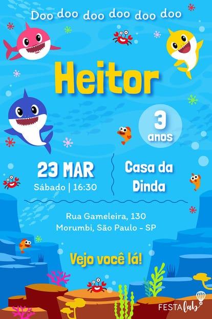 Convite de Aniversario - Baby Shark