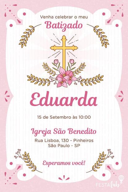 Convite de Batizado - Batizado Rosa
