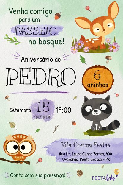 Convite de aniversario - Bosque