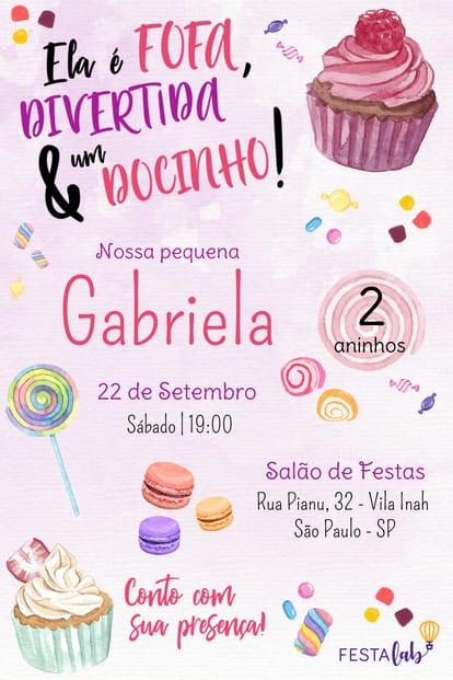 Convite de aniversario - Candy