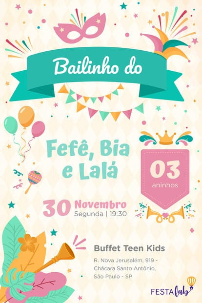 Convite de Aniversario - Carnaval