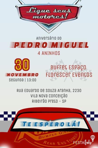 Convite de aniversario - Carros