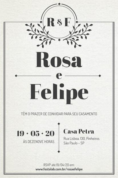 Convite de Casamento - Classico