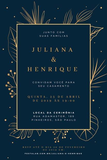 Convite de Casamento - Elegante