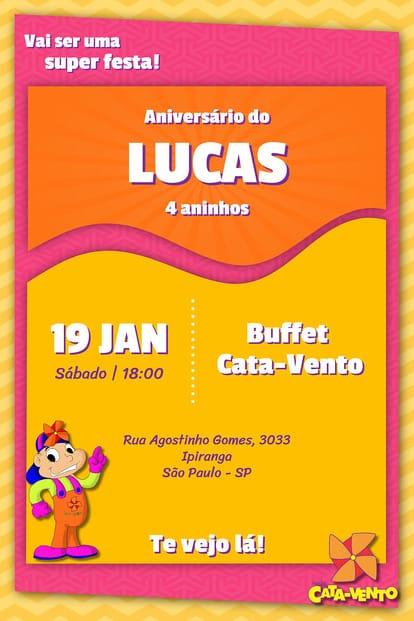 Convite de aniversario - Cata Vento