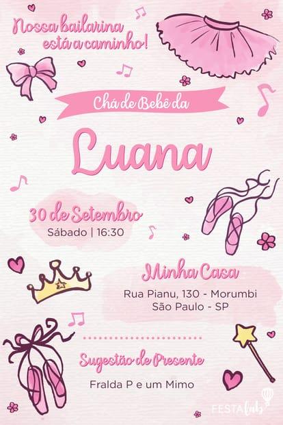Convite de Cha de Bebe - Bailarina