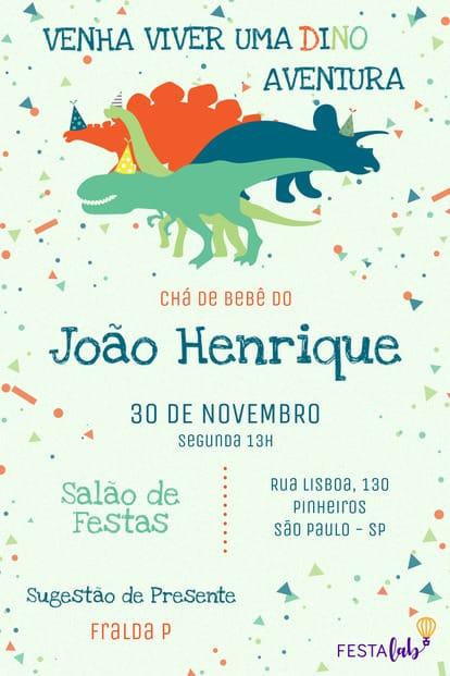 Convite de Cha de Bebe - Dinossauros