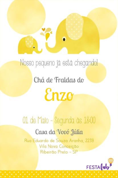 Convite de Cha de Bebe - Elefantinho