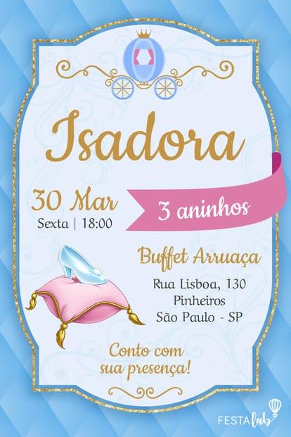 Convite de aniversario - Cinderela