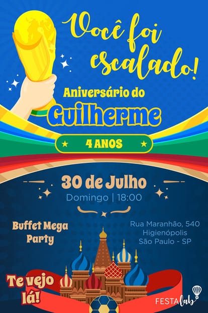 Convite de aniversario - Copa do Mundo
