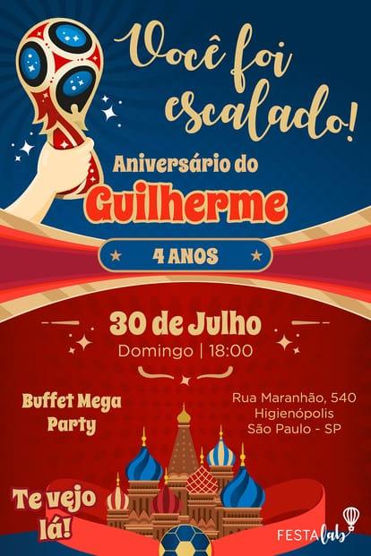 Convite de aniversario - Copa do Mundo da Russia