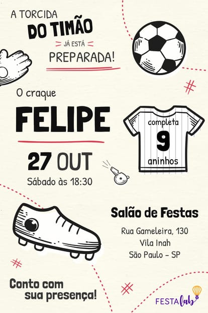 Convite de Aniversario - Corinthians
