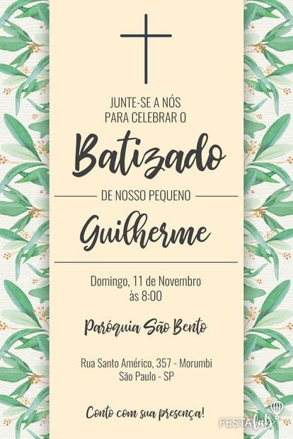 Convite Batizado - Cruz