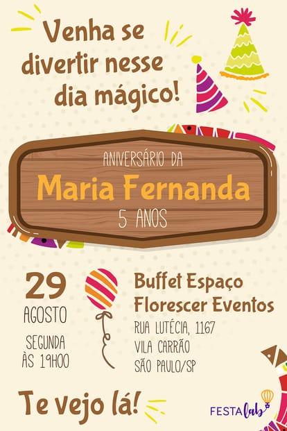 Convite de aniversario - Dia Magico