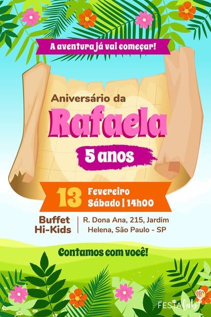 Convite de Aniversario - Dora Aventureira