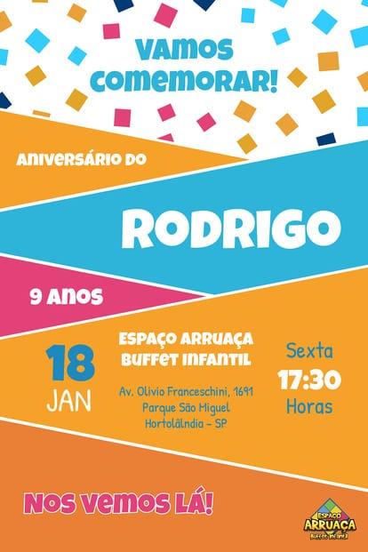 Convite de aniversario - Espaco Arruaca