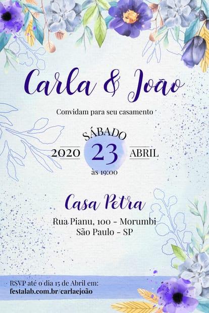 Convite de Casamento - Florido