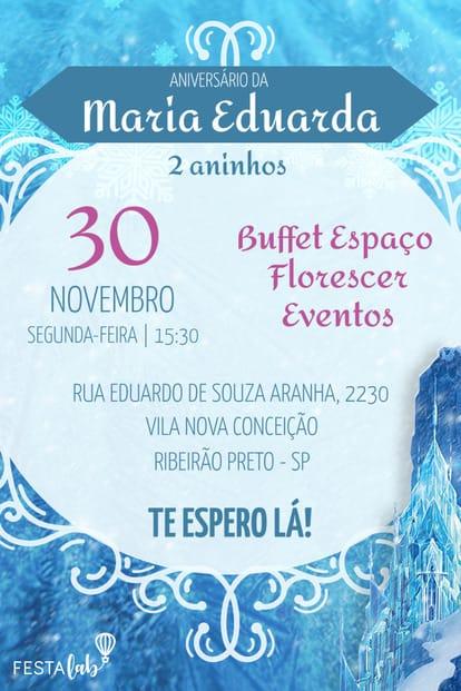 Convite de aniversario - Frozen Castelo Elsa