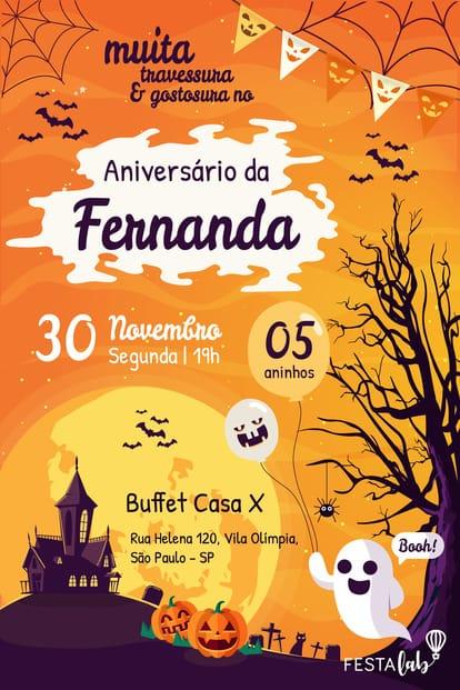 Convite de aniversario - halloween