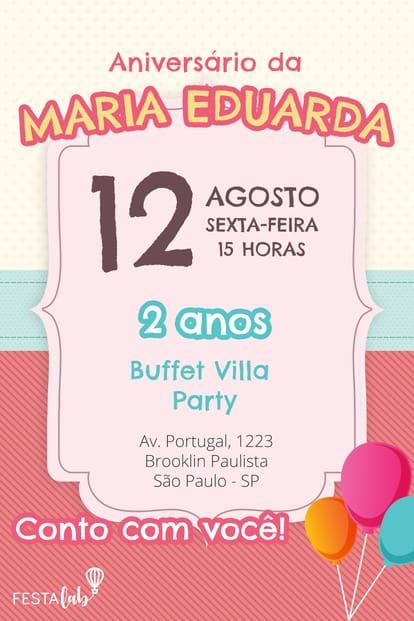 Convite de aniversario - Menina