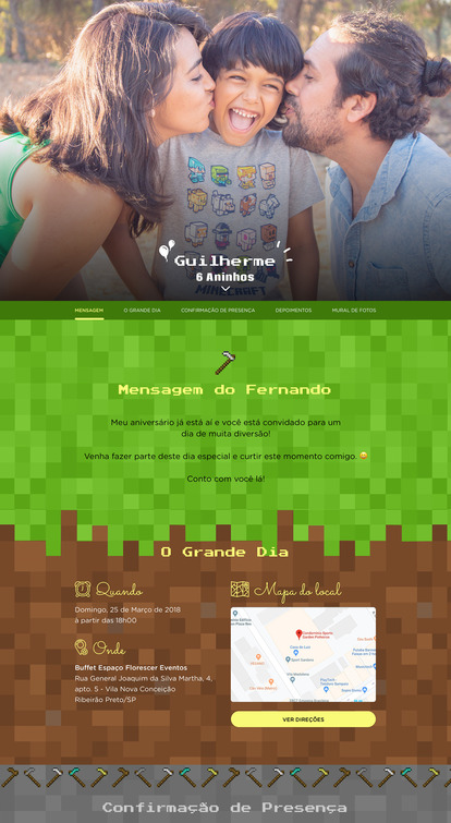 Convite Minecraft para Editar