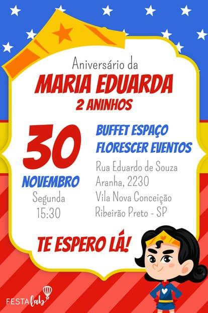 Convite de aniversario - Mulher Maravilha