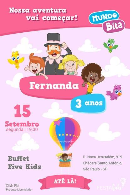 Convite de aniversario - Mundo Bita