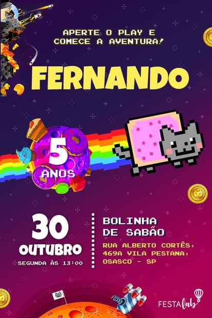 Convite de aniversario - Nyan Cat