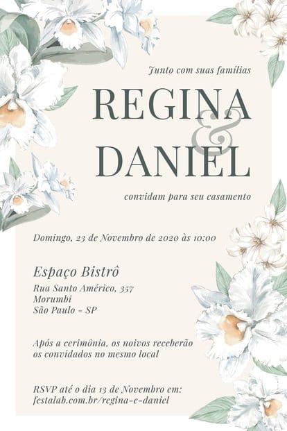 Convite de Casamento - Orquideas