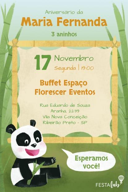 Convite de aniversario - Panda Baby