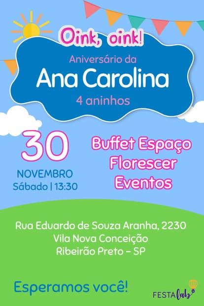 Convite de aniversario - Peppa Pig