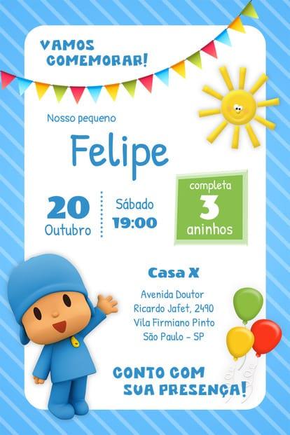 Convite de aniversario - Pocoy