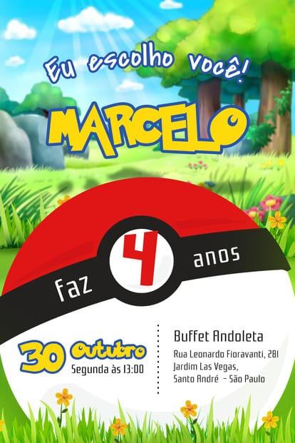 Convite de aniversario - Pokemon
