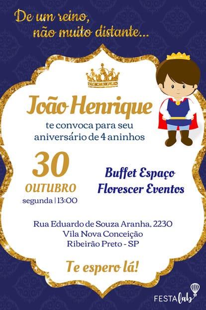 Convite de aniversario - Principe Realeza