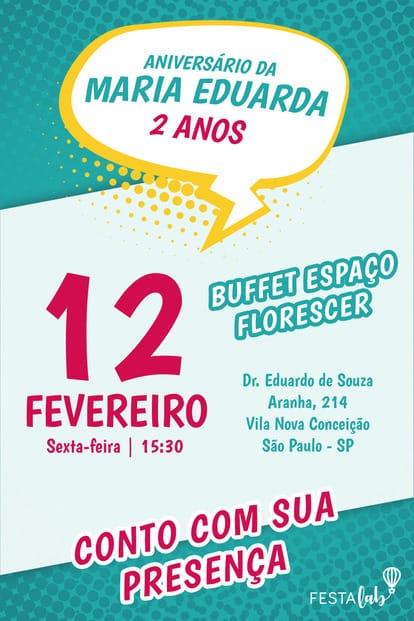 Convite de aniversario - Quadrinhos