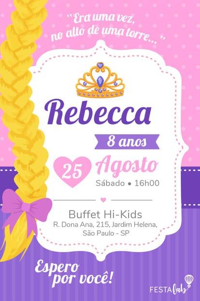 Convite de Aniversario - Rapunzel