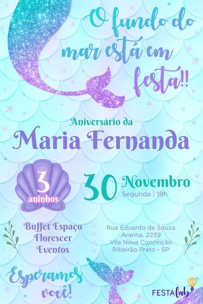 Convite de aniversario - Sereia