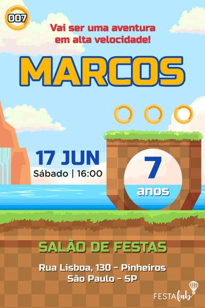 Convite de Aniversario - Sonic