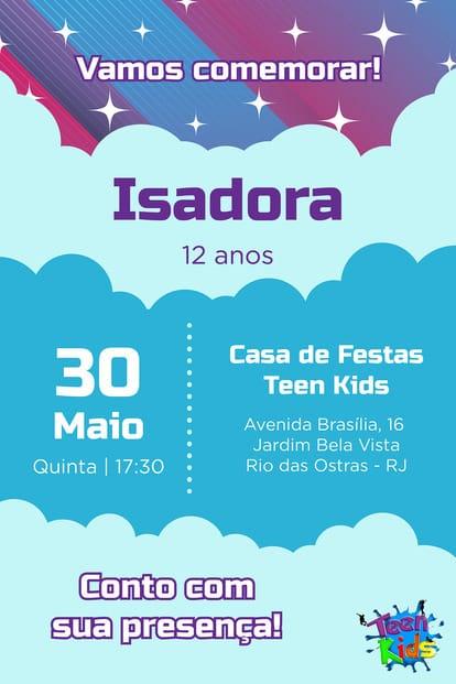 Convite de aniversario - Teen Kids