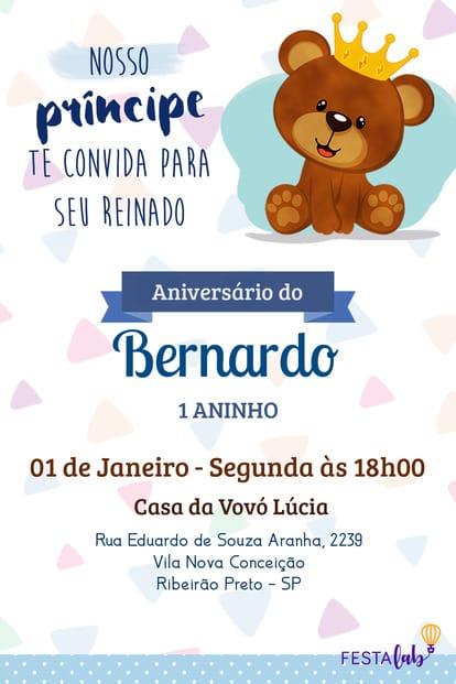 Convite de aniversario - Ursinho